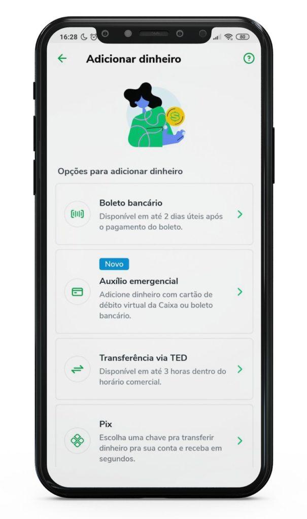 print da tela de um smartphone durante um processo de compra de créditos em um aplicativo