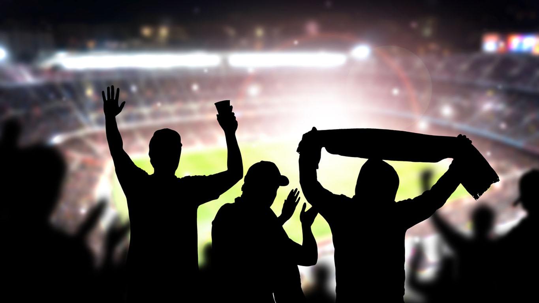 torcedores comemorando no estádio de futebol