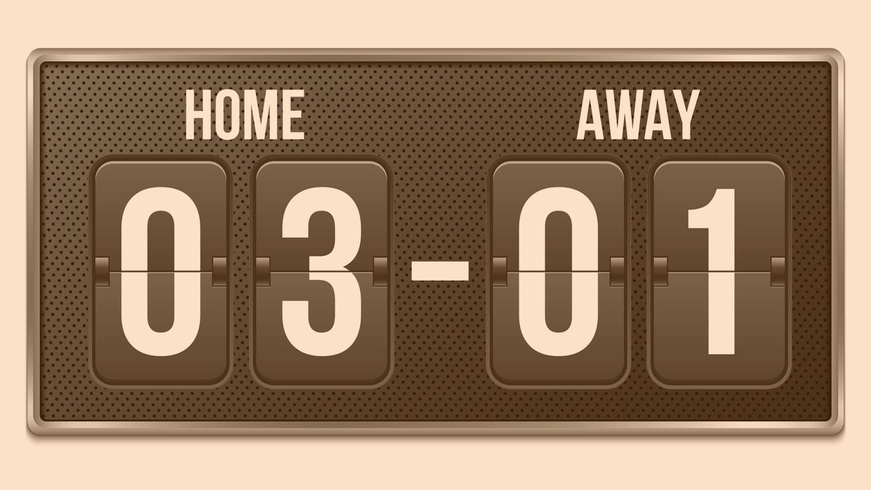 Ilustração em vetor criativo de futebol, placar mecânico de futebol isolado em fundo transparente. Art design retro vintage contagem regressiva com o tempo, exibição de resultados. Elemento de esporte gráfico do conceito.