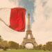 Campeonato Francês - Ligue 1: Bandeira da França em frente a torre Eiffel