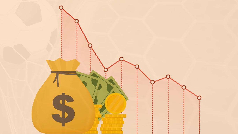 Perda de dinheiro. Dinheiro com gráfico de ações de seta para baixo, conceito de crise financeira, queda do mercado, falência. Ilustração de estoque vetorial