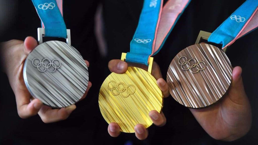 medalhas olímpicas de ouro, prata e bronze