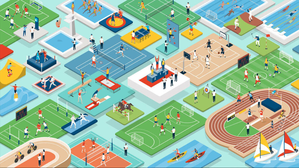 Recordes olímpicos: Esportes e competições internacionais: atletas profissionais multiétnicos e equipes atuando juntas, pessoas, campos e equipamentos isométricos