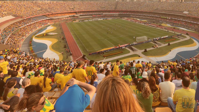 Estádio do Morumbi em um jogo da seleção Brasileira