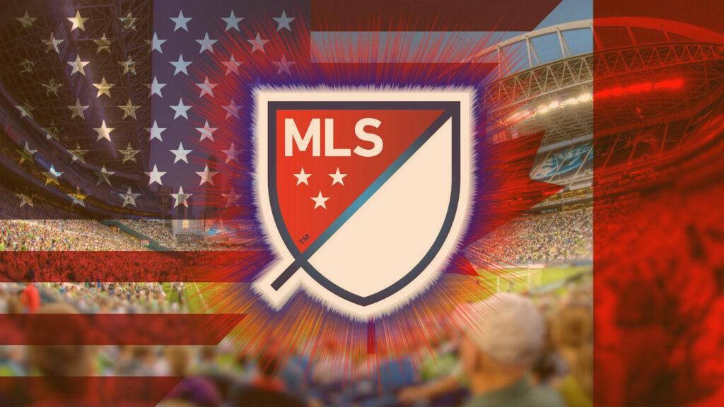 Major League Soccer: Logo MLS com bandeira americana ao fundo