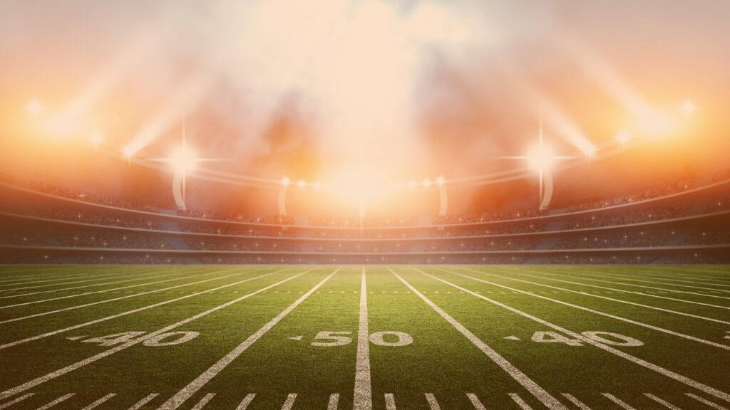 Regras do futebol americano: O estádio imaginário é modelado e renderizado.